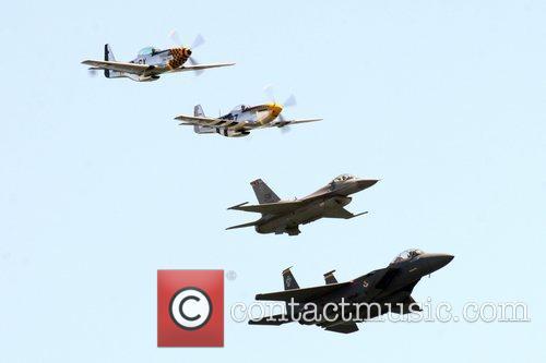 USAF P-51 Mustangs, F16CJ Fighting Falcon and F-15E...