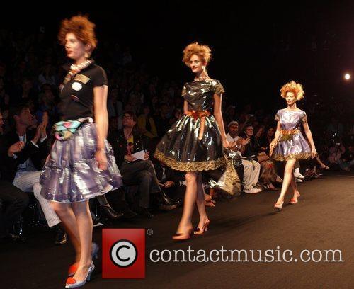 Models Vivienne Westwood Fashion Show 'Anglomania' at Bebelplatz...