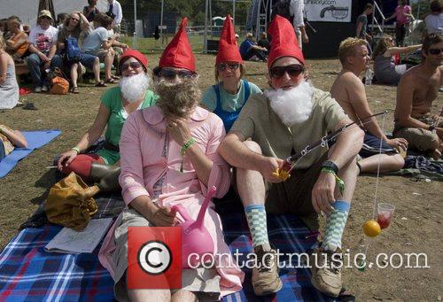Festival goers dressed up as gnomes The Big...