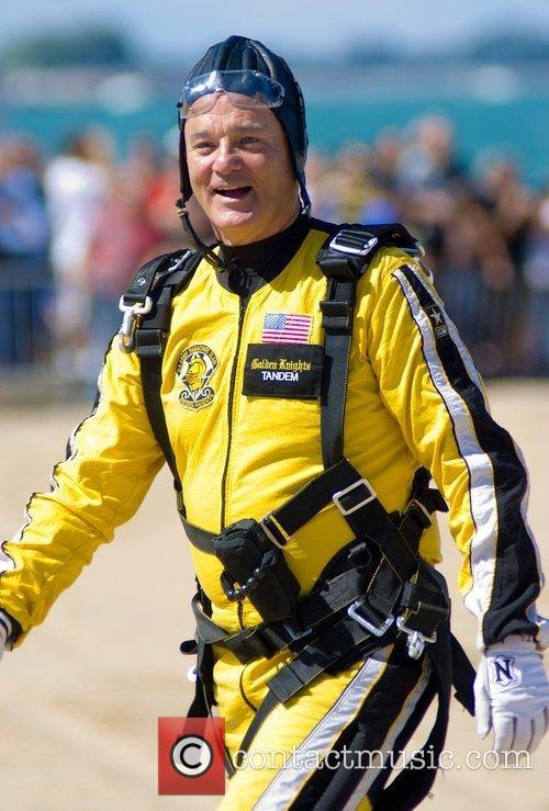 Actor Bill Murray  tandem jumps with the...