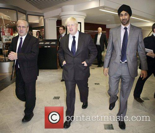 Mayer of London Boris Johnson visits Whiteleys shopping...