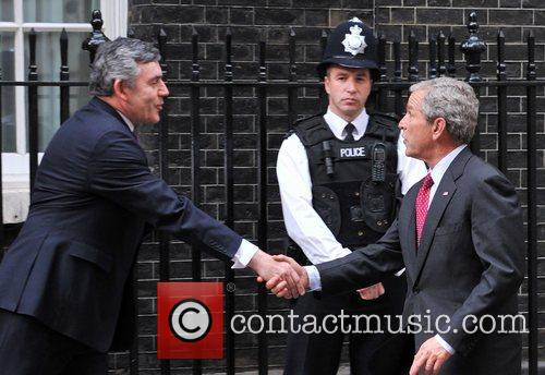 George W. Bush meets Gordon Brown at 10...