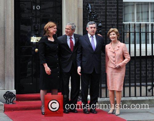 George W. Bush meets Gordon Brown at 10...