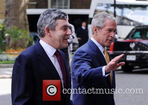 George W. Bush and Gordon Brown leaving 10...