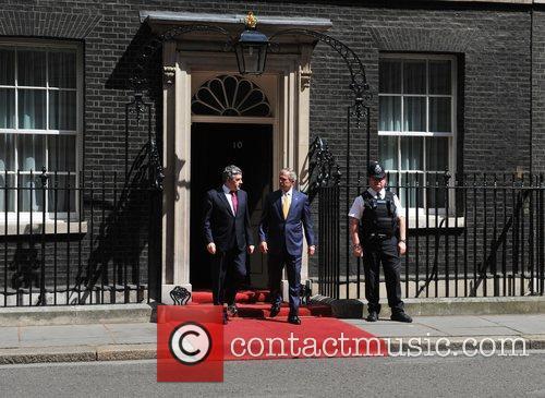 George W. Bush and Gordon Brown leave 10...