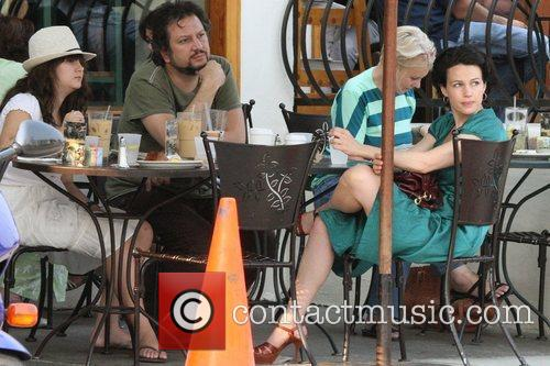 Carla Gugino having lunch with her family at...
