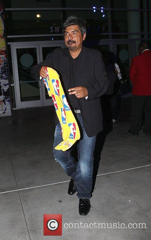 George Lopez  Leaving the Lakers games Los...