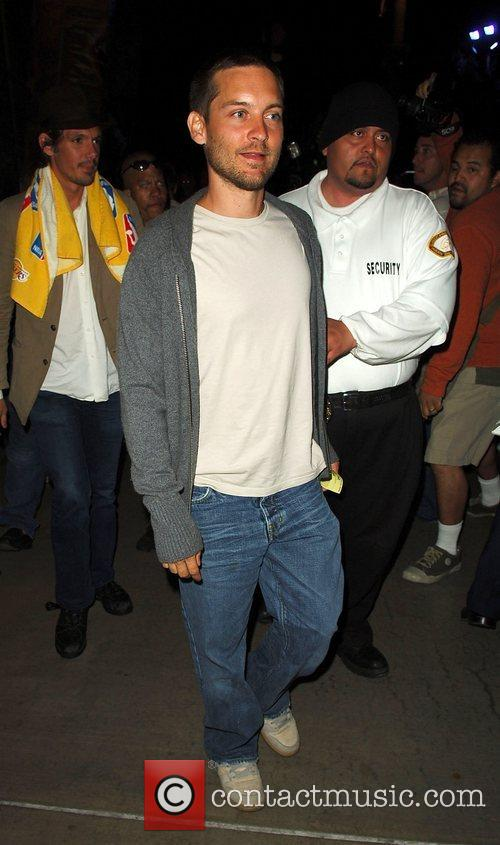 Tobey Maguire Leaving the Lakers game at the...