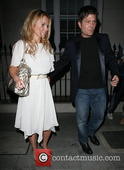 Geri Halliwell leaving Cipriani Restaurant with Kenny Goss.