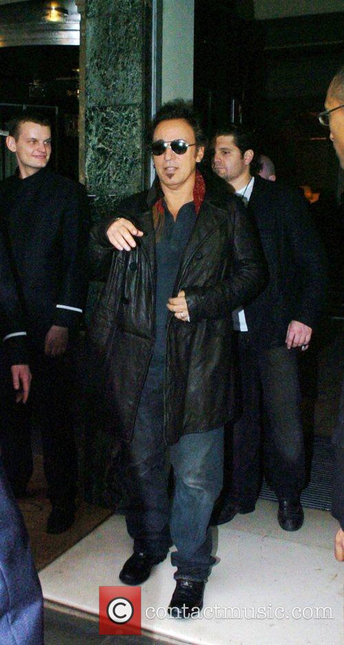 Bruce Springsteen leaving Claridge's Hotel in Mayfair and...