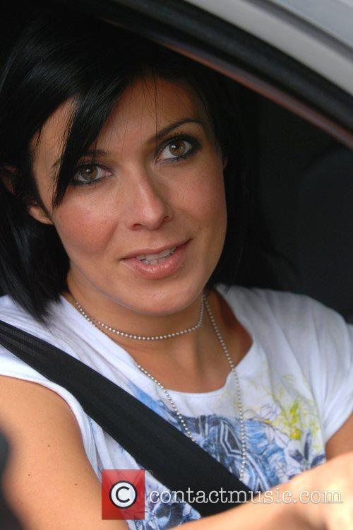 Kym Marsh aka Kim Ryder leaving Granada Studios....