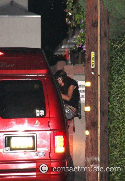 Isabel Lucas leaving Crown Bar in a van...