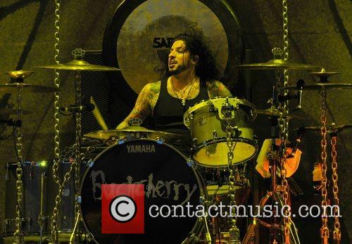 Drummer Xavier Murial of Buckcherry performing on the...