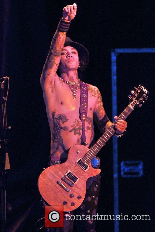 Guitarist Stevie D of Buckcherry performing on the...
