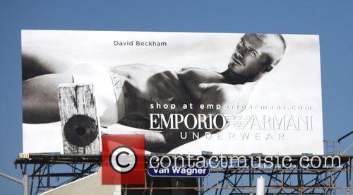 A billboard featuring David Beckham modelling underwear for...