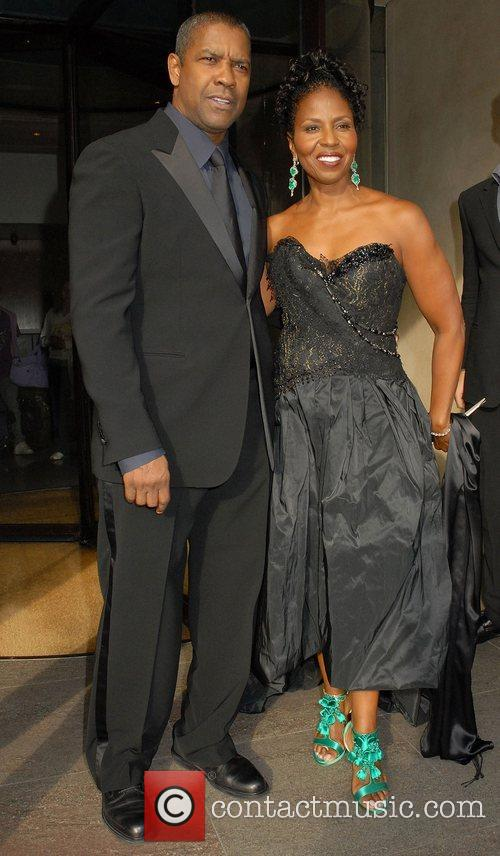 Denzel Washington and his wife Pauletta Pearson leaving...