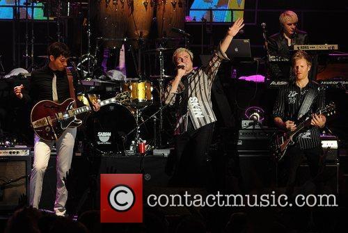 Duran Duran and Mark Ronson performing at the...
