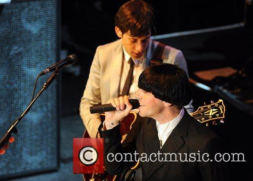 Mark Ronson and Tim Burgess performing at the...