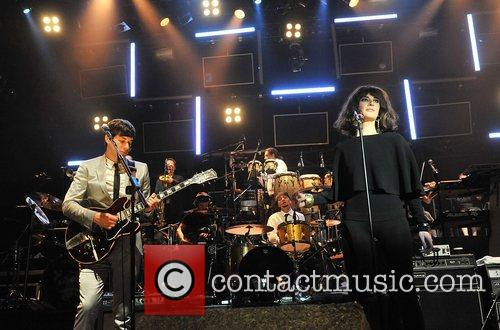 Mark Ronson and Candie Payne performing at the...