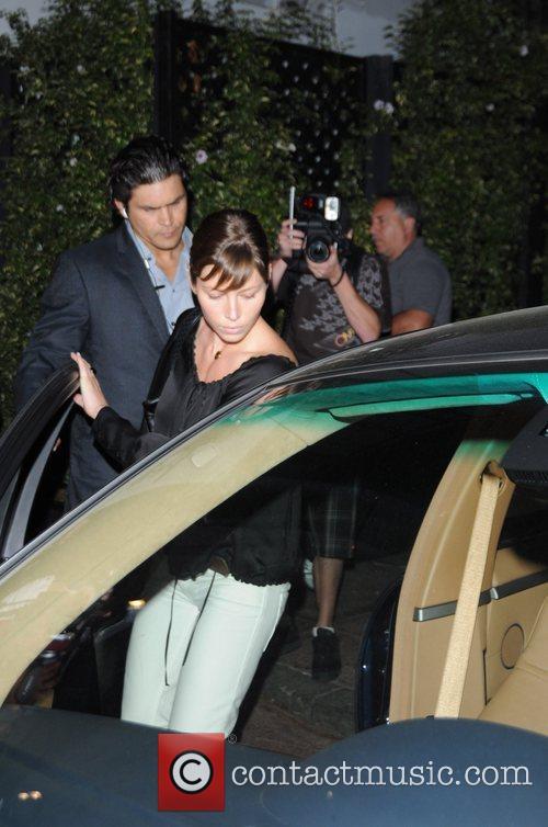 Jessica Biel leaving El Beso restaurant Hollywood, California