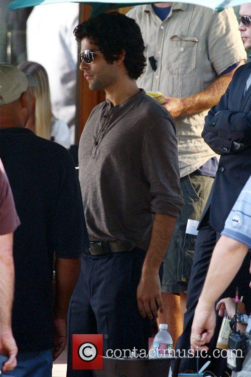 Adrian Grenier The cast of HBO's 'Entourage' filming...