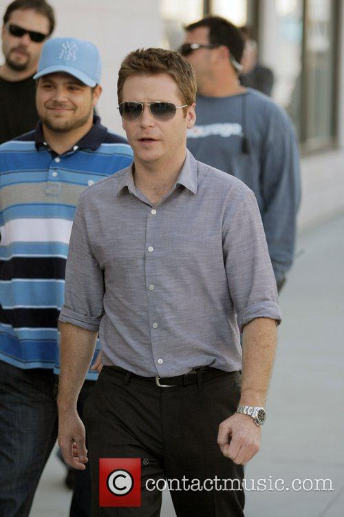 The cast of HBO's 'Entourage' filming a scene...
