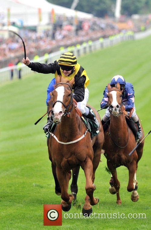 Blythe Knight with jockey Graham Gibbons wins the...