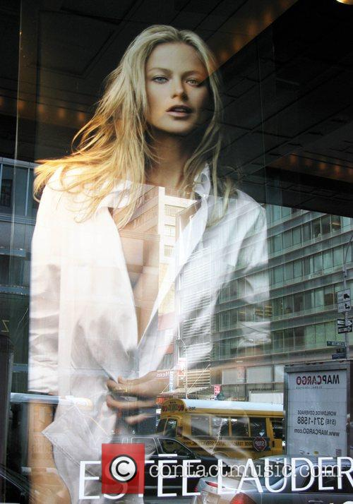 Carolyn Murphy in an ad campaign on display...