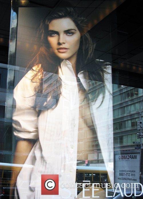 Hilary Rhoda in an ad campaign on display...