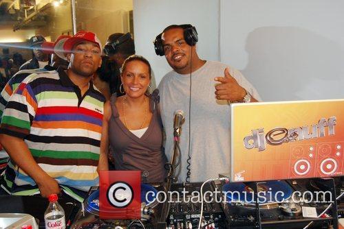 Dennis White, Angie Martinez, DJ Enuff Estelle performing...