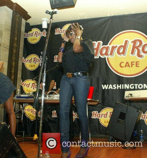 Performing an instore gig at Hard Rock Cafe