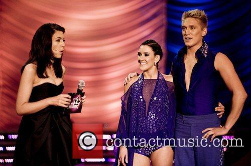 Claudia Winkleman with Sweden's Danny Saucedo and Jeanette...
