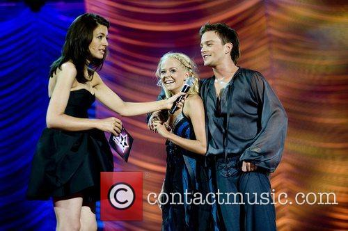 Claudia Winkleman with Denmark's Katja Svensson and Patrick...