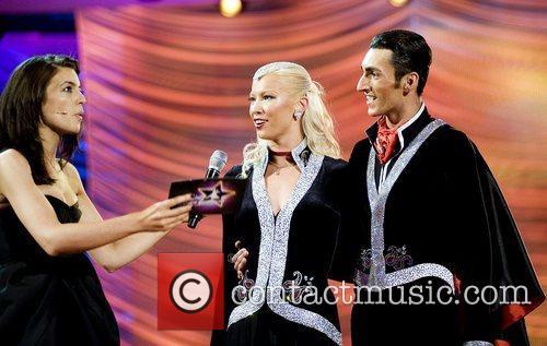 Claudia Winkleman with Azerbaijan's Eldar Dzhafarov and Anna...
