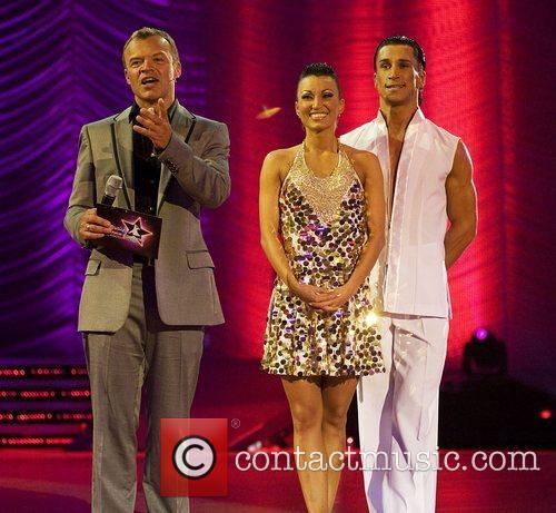 Graham Norton with Lithuania's Saulius Skambinas and Karina...