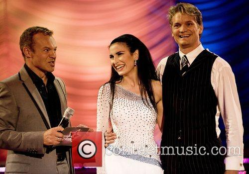 Graham Norton with Finland's Maria Lund and Mikko...
