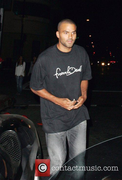 Tony Parker leaving Beso restaurant after dining with...