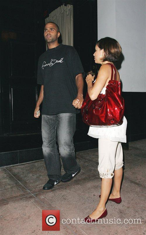 Tony Parker and Eva Longoria Parker leaving Beso...