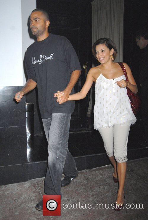 Leaving Beso restaurant after dining with her husband...