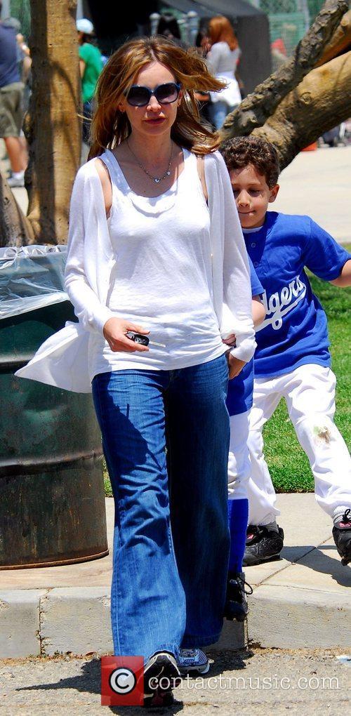 Calista Flockhart watching her son Liam play baseball...