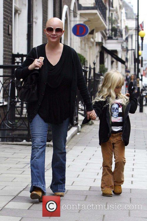 Gail Porter looking happy, spotted walking through west...
