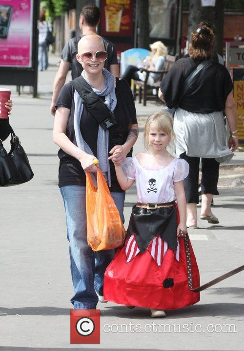 Gail Porter walking with her daughter Honey, who...