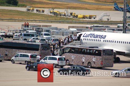 German football team at Tegel Airport arriving back...
