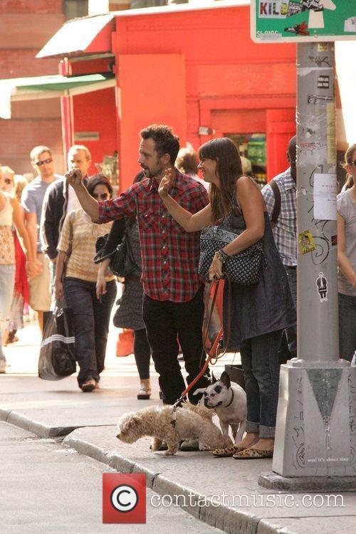 Giovanni Ribisi and girlfriend walk dogs around SoHo...