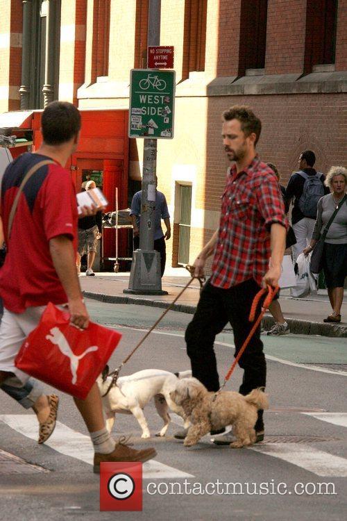 Giovanni Ribisi walks dogs around SoHo New York...