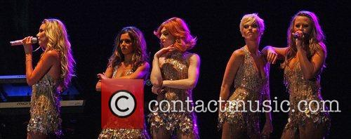 Girls Aloud performing at Newmarket Racecourse