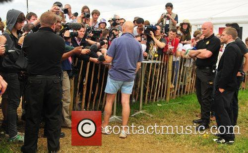 Holds a press conference at the Glastonbury festival...