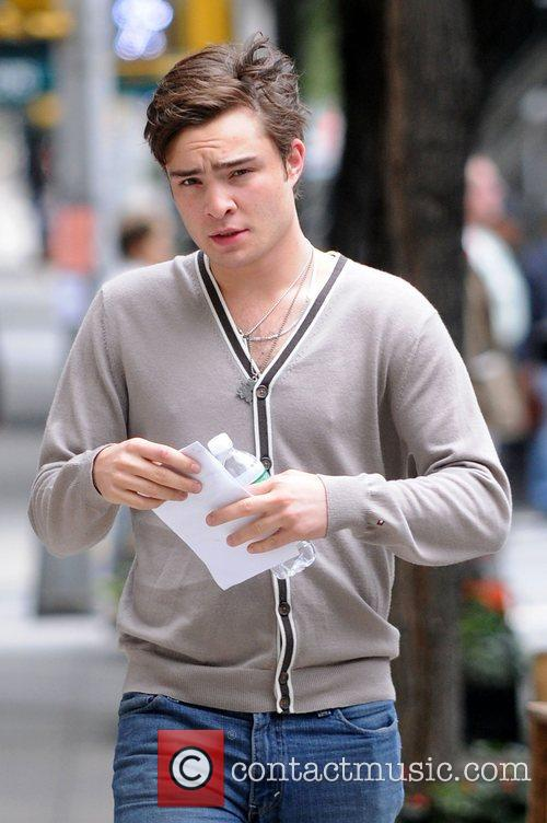 Ed Westwick on the set of 'Gossip Girl'...