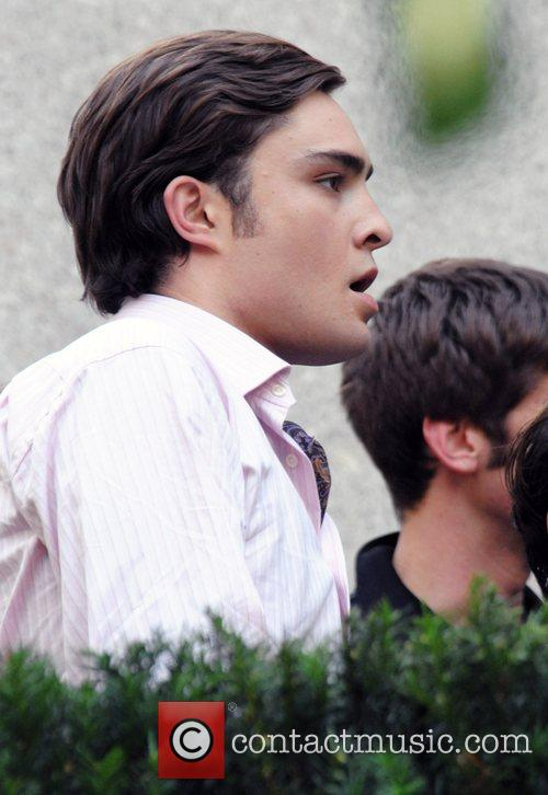 On the set of his show 'Gossip Girl'...