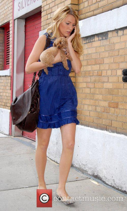 Blake Lively with her dog on the set...
